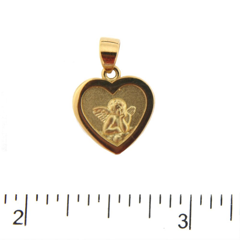 18K Yellow Gold Angel Heart Medal Pendant (0.70 inch 17mm x 0.50 inch 12mm  with Bail)Amalia J. & Boutique Charms