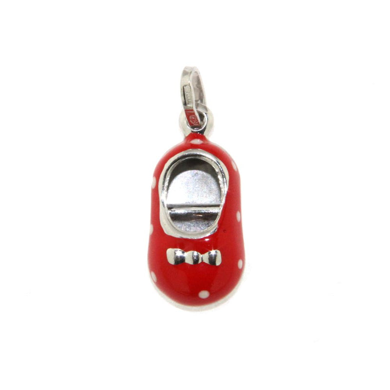 18K White Gold Red Enamel Shoe Charm with polka dots (15mm X 10mm/25mm with Bail)Amalia J. & Boutique Charms