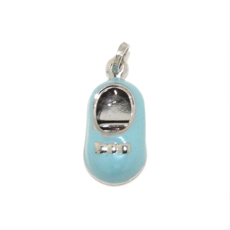 18K White Gold Light Blue Enamel Shoe Charm (15mm X 10mm/25mm with Bail)Amalia J. & Boutique Charms