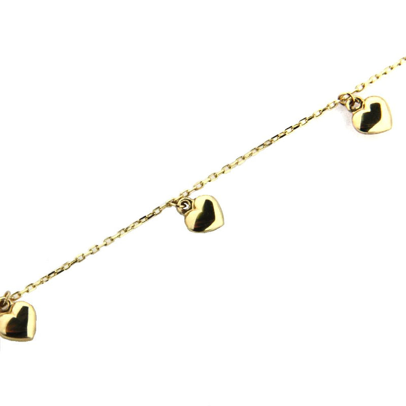 18K Yellow Gold Heart  Hanging Bracelet 6 inchesAmalia J. & Boutique Bracelets