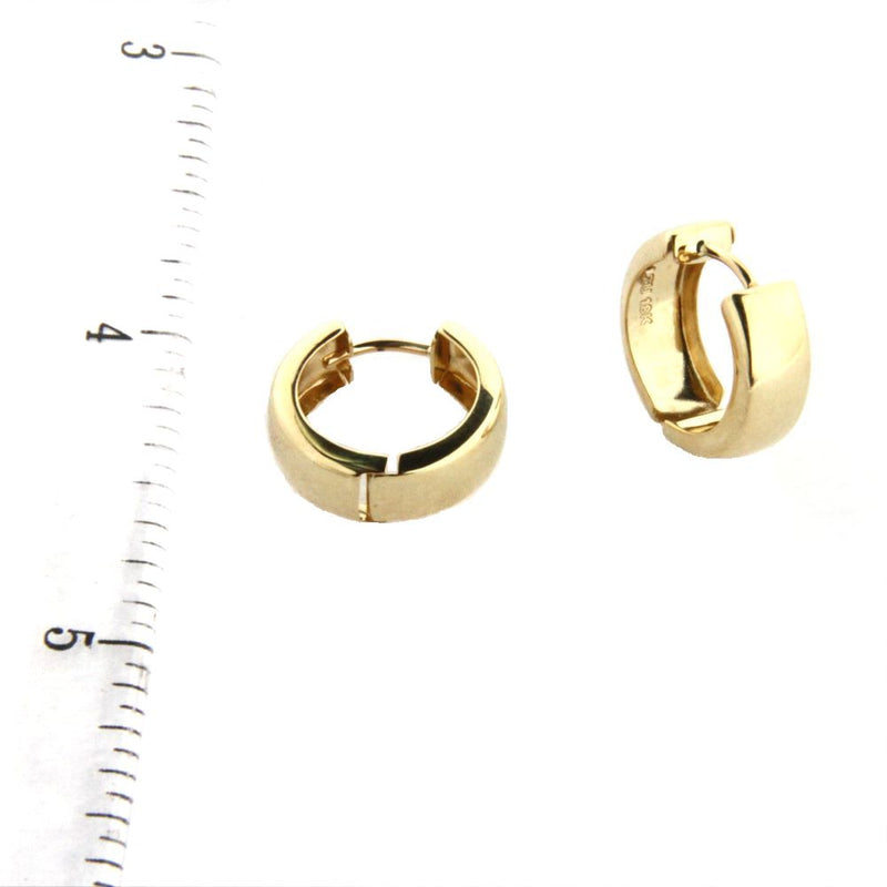 18K  Solid Yellow Gold Polished Huggie medium Earrings 0.50 inch diameter x 0.18 inchAmalia J. & Boutique Earrings