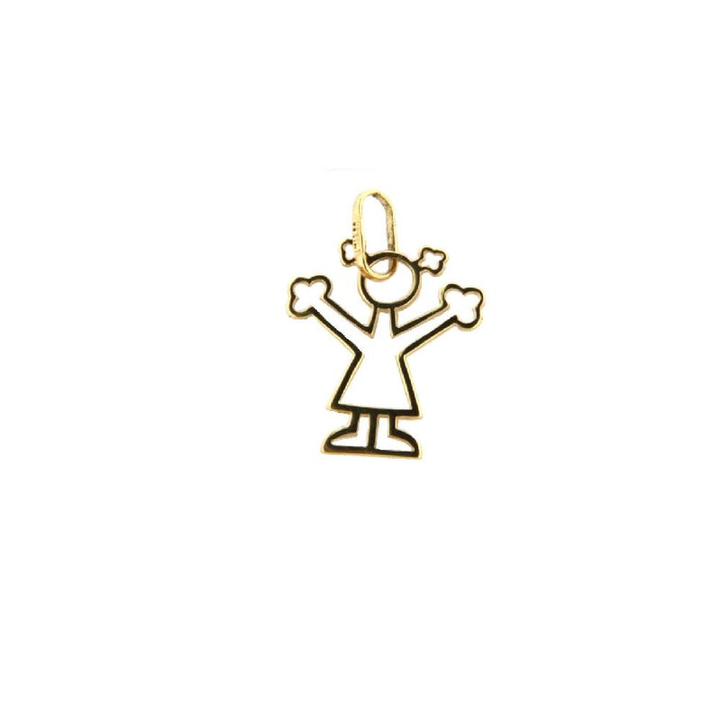 18K Yellow Gold Small Cut Out Girl Charm (12mm X 12mm/19mm with Bail)Amalia J. & Boutique Charms