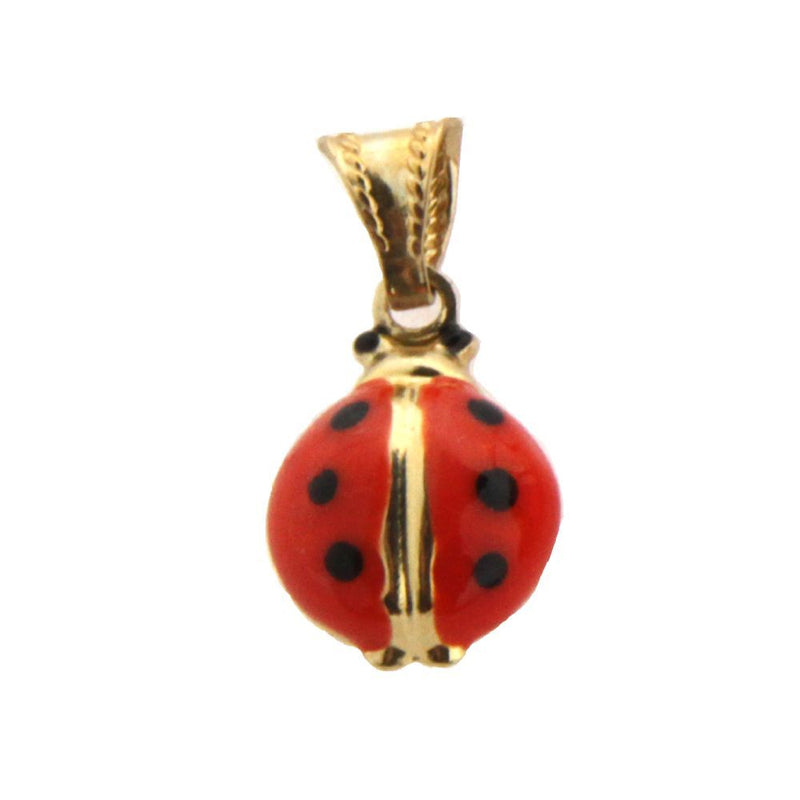 18K  Yellow Gold Red Enamel Lady Bug Charm (10mm/19mm with Bail)Amalia J. & Boutique Charms