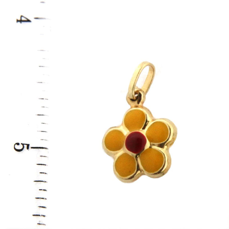 18K  Yellow Gold Yellow Enamel Flower Charm (10mm/21mm with Bail)Amalia J. & Boutique Charms