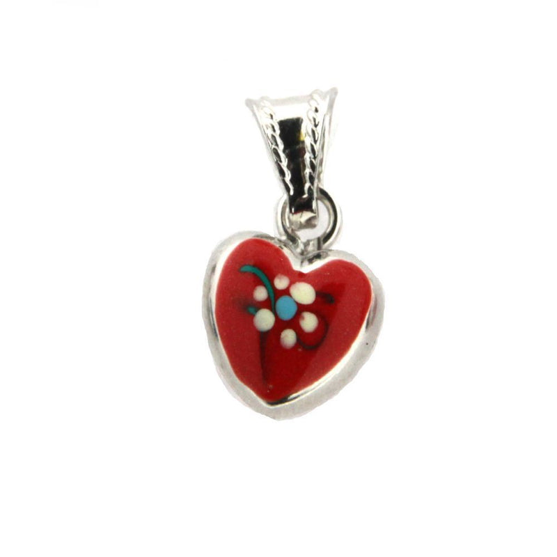 18K  White Gold Red Enamel Heart Charm (10mm/17mm with Bail)Amalia J. & Boutique Charms