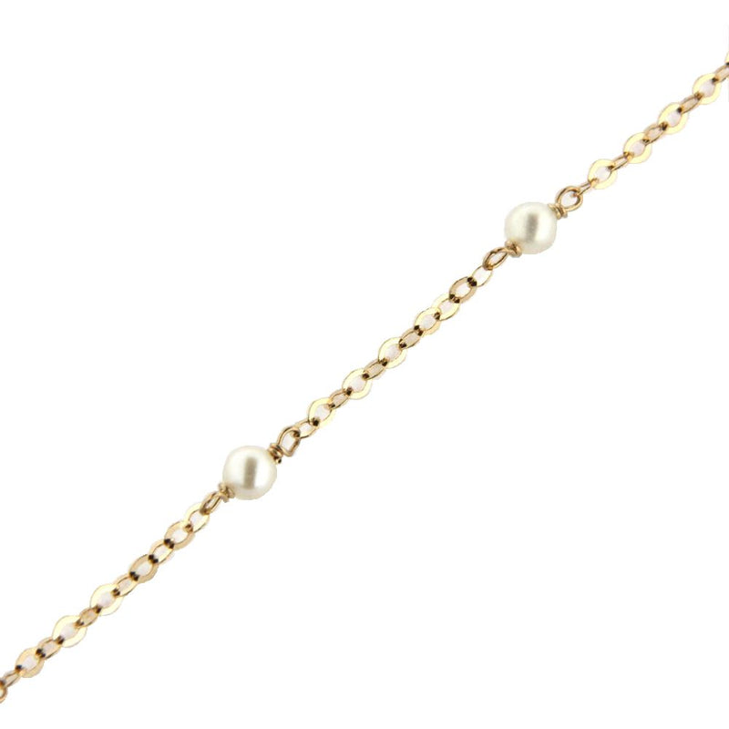 18K Solid Yellow Gold 3 mm. Cultivated Pearl Diamond cut Chain Bracelet 7 inchesAmalia J. & Boutique Bracelets