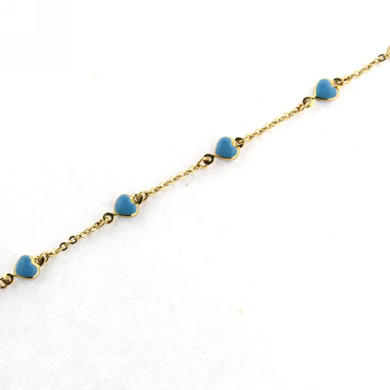 18K Yellow Gold Bracelet with Blue Enamel Hearts 6 inchAmalia J. & Boutique Bracelets