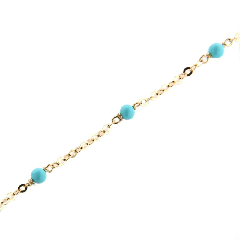 18K Solid Yellow Gold 3mm. Reconstructed Turquoise Beads Diamond Cut Chain Bracelet 7 inchesAmalia J. & Boutique Bracelets