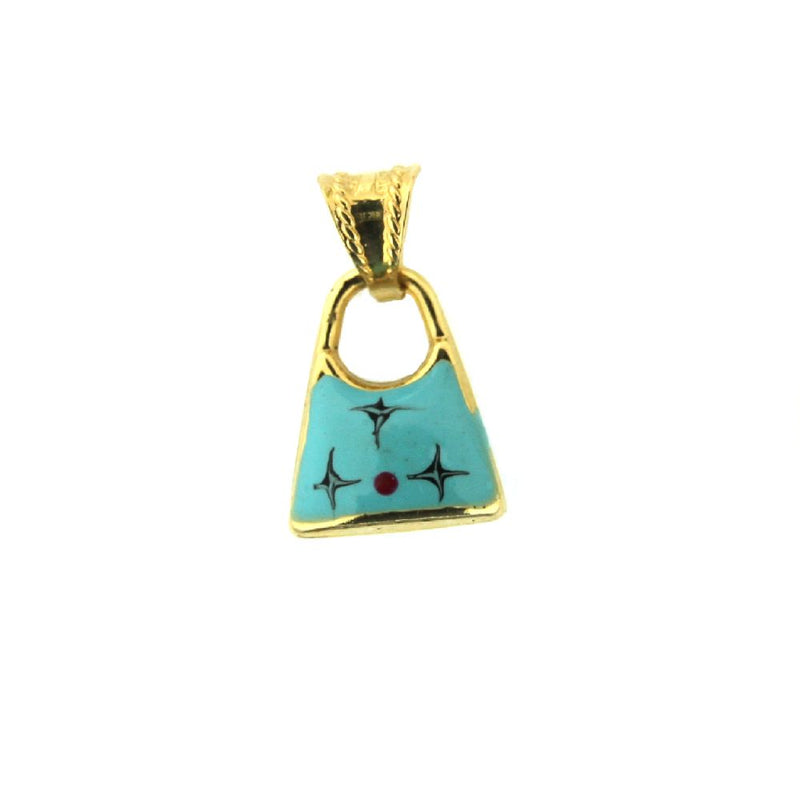 18K Yellow Gold Blue Enamel Design Purse Charm (11mm X 14mm/18mm with Bail)Amalia J. & Boutique Charms