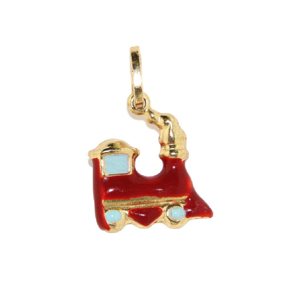 18K Yellow Gold Red Train Charm (11mm X 13mm/20mm with Bail)Amalia J. & Boutique Charms