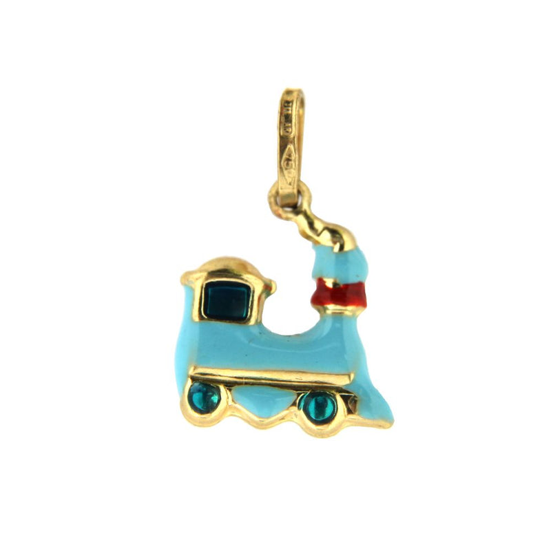 18K Yellow Gold Blue Train Charm (11mm X 13mm/20mm with Bail)Amalia J. & Boutique Charms