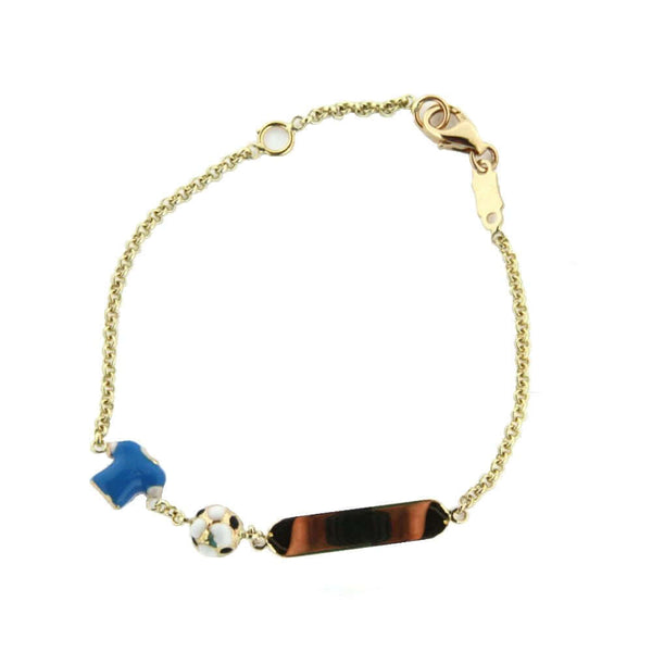 18K Yellow Gold Soccer ID Bracelet with Enamel Soccer ball and Blue shirt  5.6 inch with extra ring at 4.8 inchAmalia J. & Boutique Bracelets