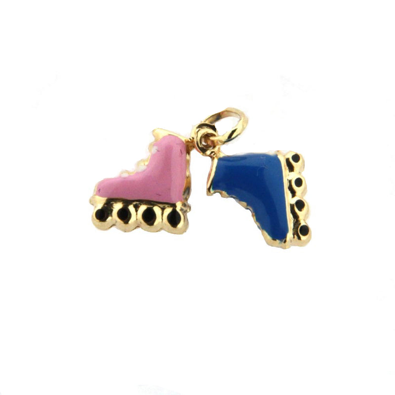 18K Yellow Gold  Blue Enamel Skate Charm (9mm X 10mm/18mm with Bail)Amalia J. & Boutique Charms