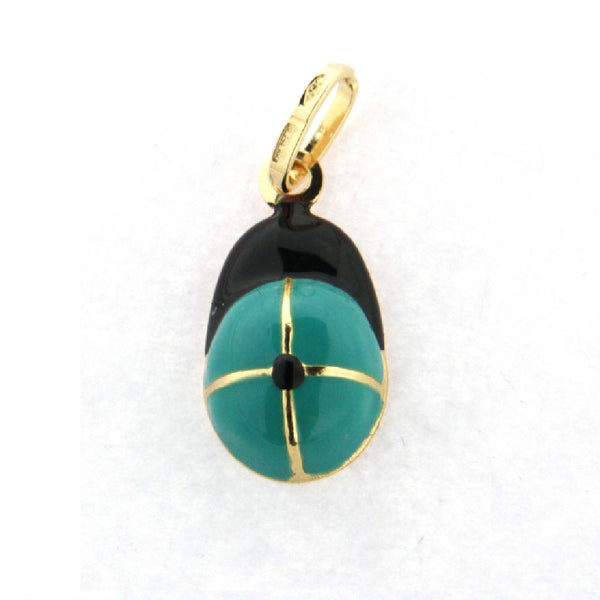 18K  Yellow Gold Teal & Black Baseball Cap Charm (14mm X 9mm/23mm with Bail)Amalia J. & Boutique Charms
