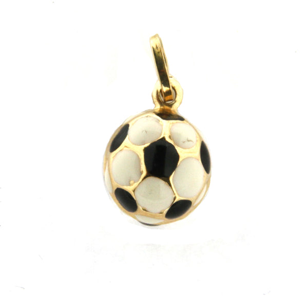 18K Yellow Gold  Enamel Soccer Ball Charm (12mm/21mm with Bail)Amalia J. & Boutique Charms