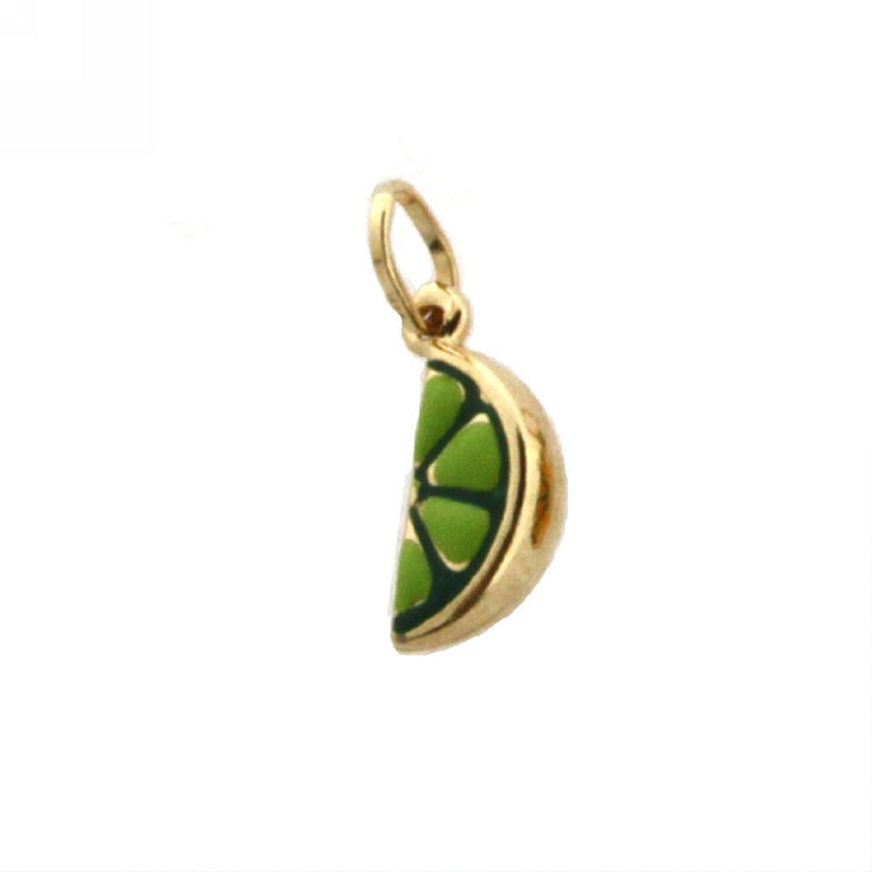 18K Yellow Gold Green Enamel Lime Charm (9mm X 4mm/13mm with Bail)Amalia J. & Boutique Charms