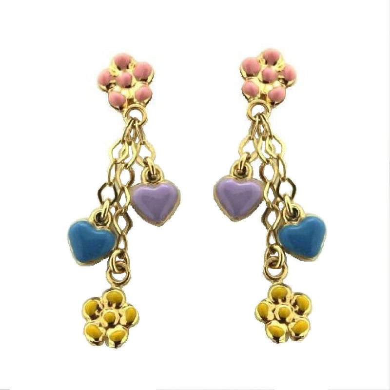 18K Yellow Gold Multi Color Enamel Heart and Flower Earrings (33mm X 5mm)Amalia J. & Boutique Earrings