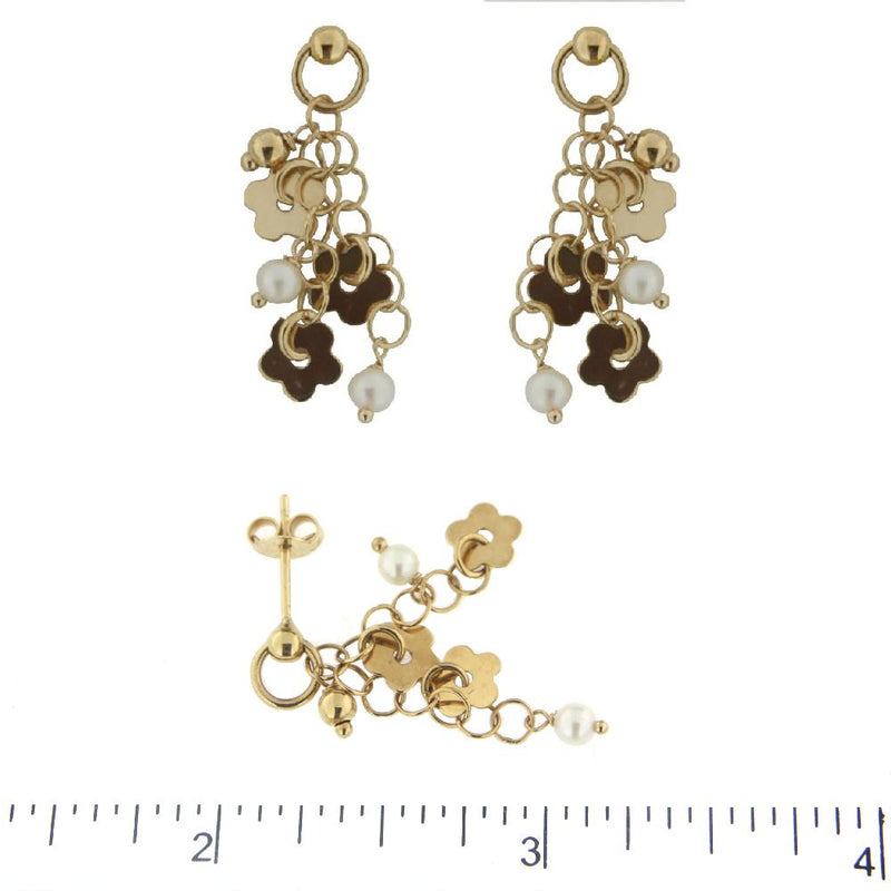 18K Solid Yellow Gold Flowers with Pearls Dangle Earrings L1 inchAmalia J. & Boutique Earrings