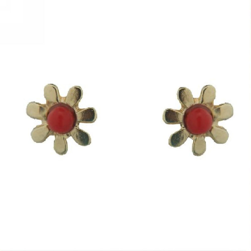 18K Solid Yellow Gold Flower with center Coral Paste Bead covered screwback earrings (5mm)Amalia J. & Boutique Earrings