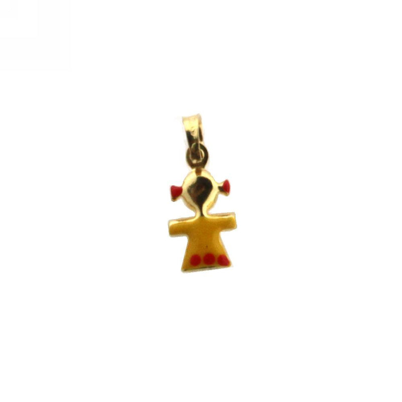 18K Yellow Gold Yellow Enamel Girl Charm (8mm X 7mm/14mm with Bail)Amalia J. & Boutique Charms