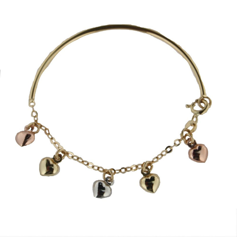 18K Yellow Gold with Tri Color Hearts Baby bangle 5.46 inchesAmalia J. & Boutique Bracelets