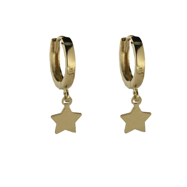 18K Solid Yellow Gold  Dangling Star Small Hinged Hoop Huggie EarringsAmalia J. & Boutique Jewelry > Earrings > Hoop Earrings