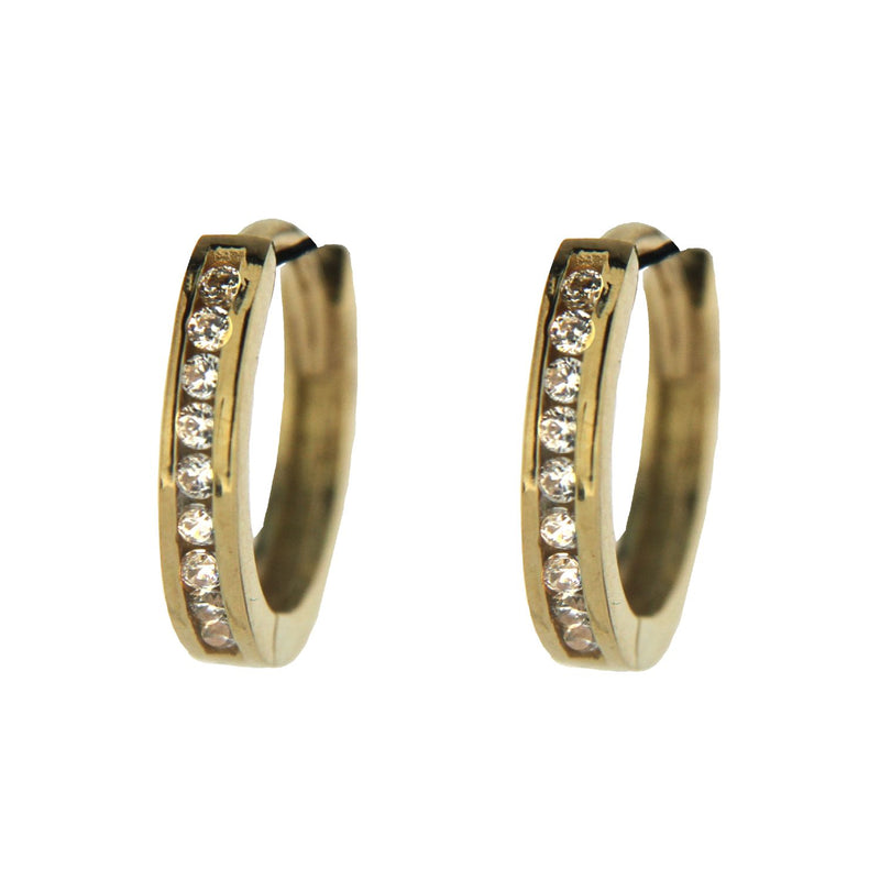 18K Solid Yellow Gold Cubic  Zircon Channel setting  Baby Hinged Hoop Huggie Earrings  0.44 diameter  x 0.08 inch 11mm x 2 mm ThicknessAmalia J. & Boutique Earrings