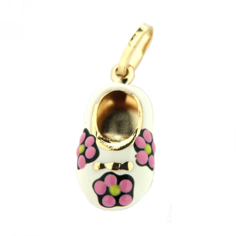 18K Yellow Gold White Enamel Shoe with Flowers (15mm X 10mm/25mm with Bail)Amalia J. & Boutique Charms