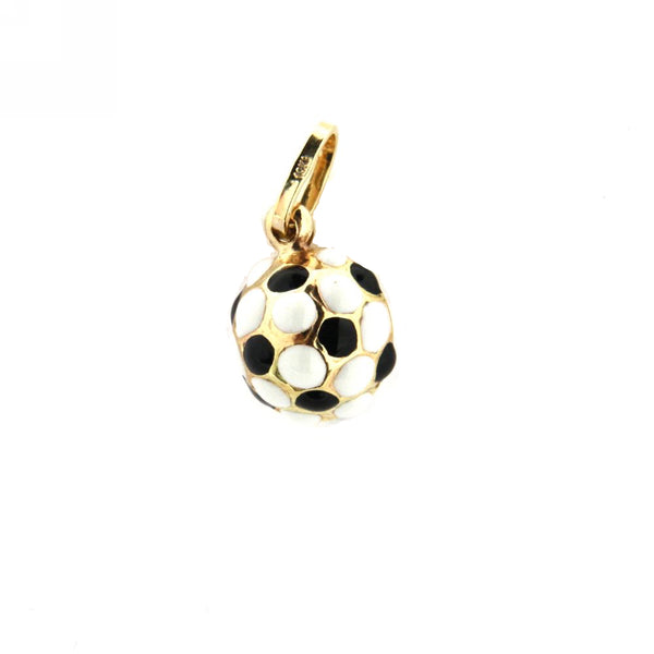 18K Yellow Gold Black and White Enamel Soccer Ball Charm (9mm/17mm with Bail)Amalia J. & Boutique Charms