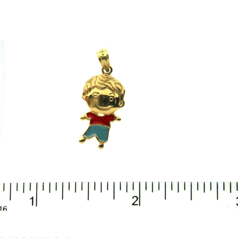 18K Yellow Gold Boy Charm with red and blue enamel (18mm X 10mm/25mm with Bail)Amalia J. & Boutique Charms