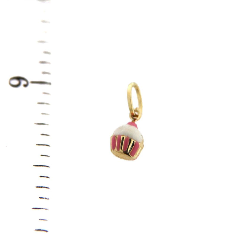 18K Yellow Enamel Gold Cupcake Charm (5mm/11mm with Bail)Amalia J. & Boutique Charms