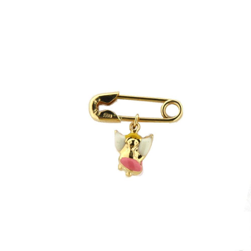 18K Yellow Gold Pink Enamel Angel Pin (17mm X 5mm/6mm Angel)Amalia J. & Boutique Charms