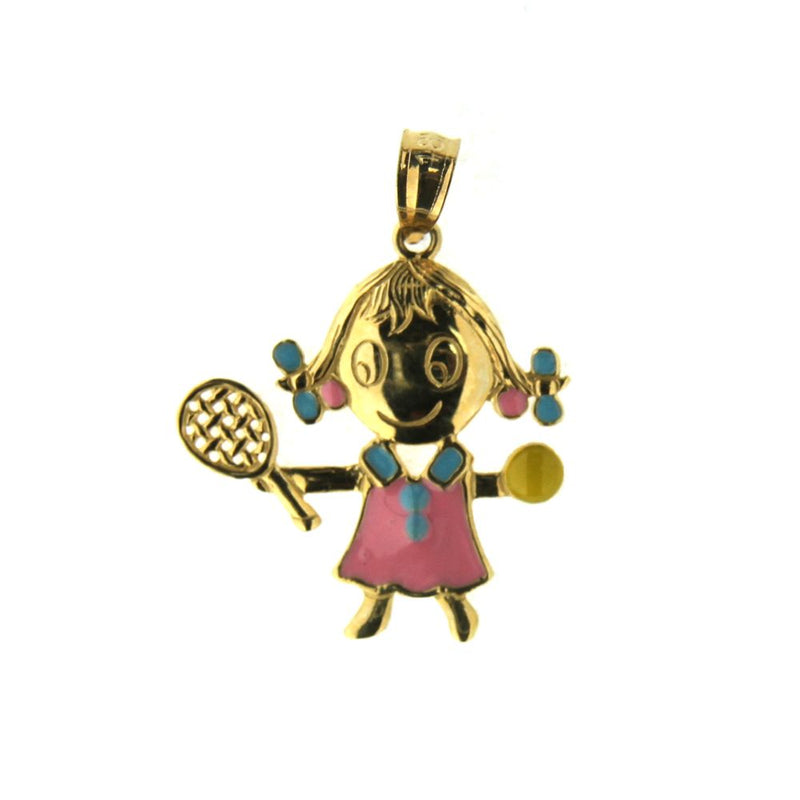 18K  Yellow Gold White w Red Enamel Tennis Girl (19mm X 18mm/25mm with Bail)Amalia J. & Boutique Charms