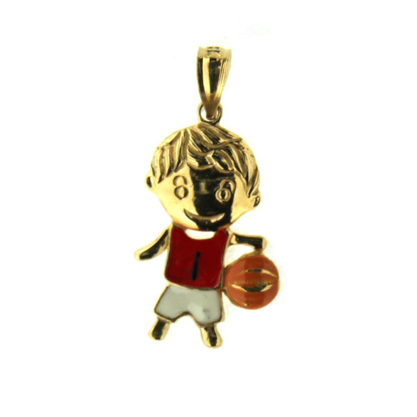 18K Yellow Gold Enamel Basketball Boy Charm (18mm X 13mm/25mm with Bail)Amalia J. & Boutique Charms