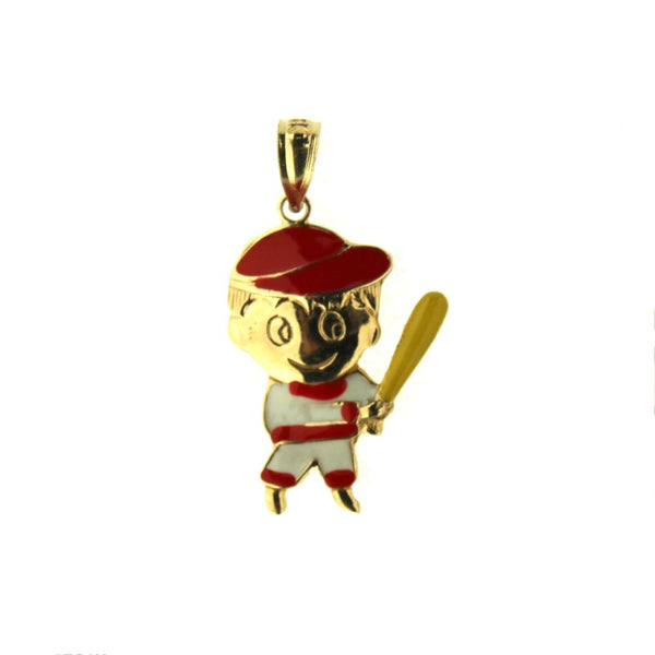 18K Yellow Gold Enamel Baseball Boy Charm (18mm X 14mm/25mm with Bail)Amalia J. & Boutique Charms