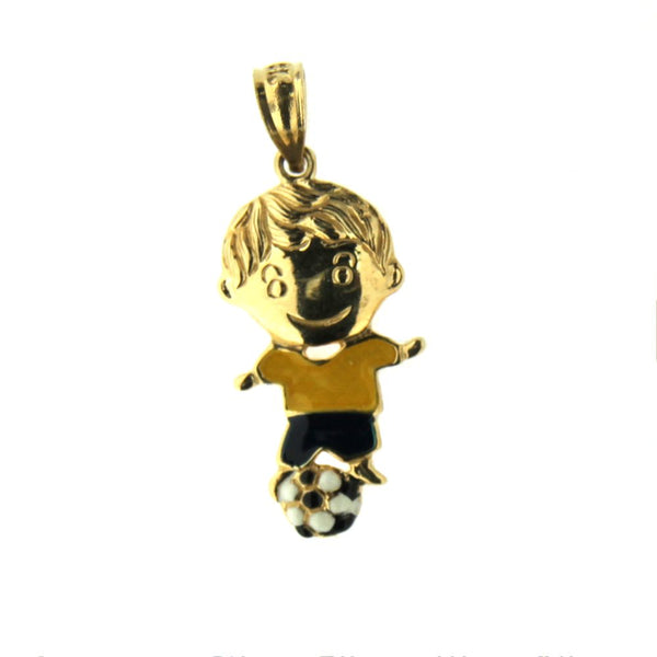 18K Yellow Gold Soccer Boy Charm (20mm X 11mm/26mm with Bail)Amalia J. & Boutique Charms