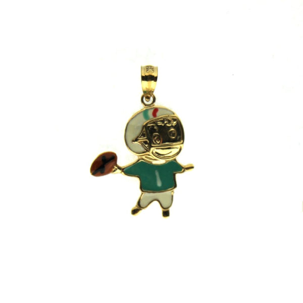 18K Yellow Gold Enamel Football Boy Charm (18mm X 17mm/25mm with Bail)Amalia J. & Boutique Charms