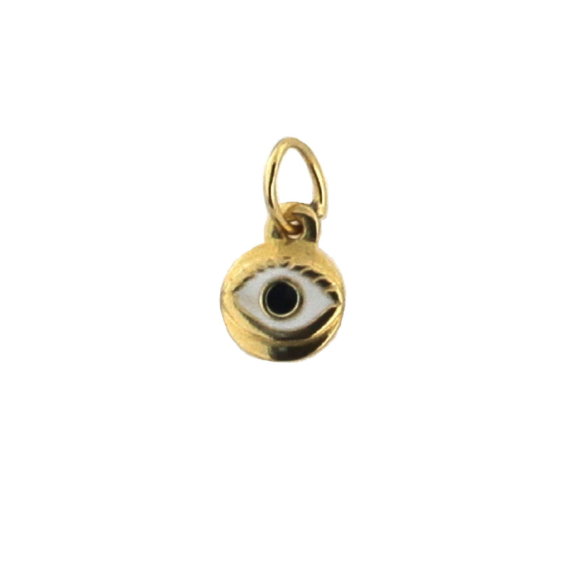 18K Yellow Gold White Enamel Eye Charm (6mm/12mm with Bail)Amalia J. & Boutique Charms