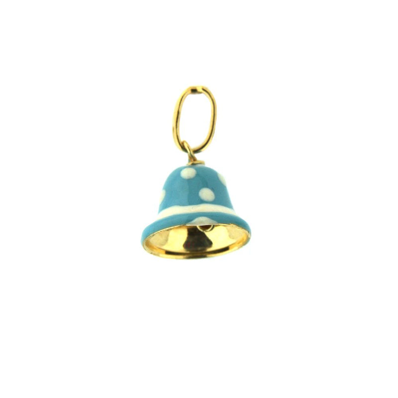 18K Yellow Gold Bluewith white  Enamel Bell Charm (8mm X 11mm/16mm with Bail)Amalia J. & Boutique Charms