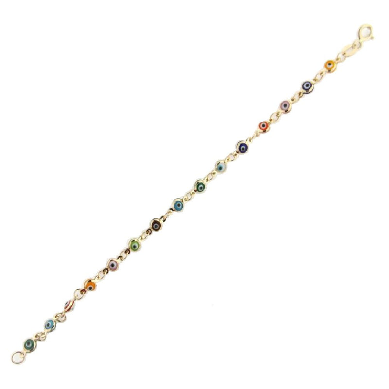 18 Kt Yellow Gold Multi color Eye bracelet 6 inchesAmalia J. & Boutique Bracelets