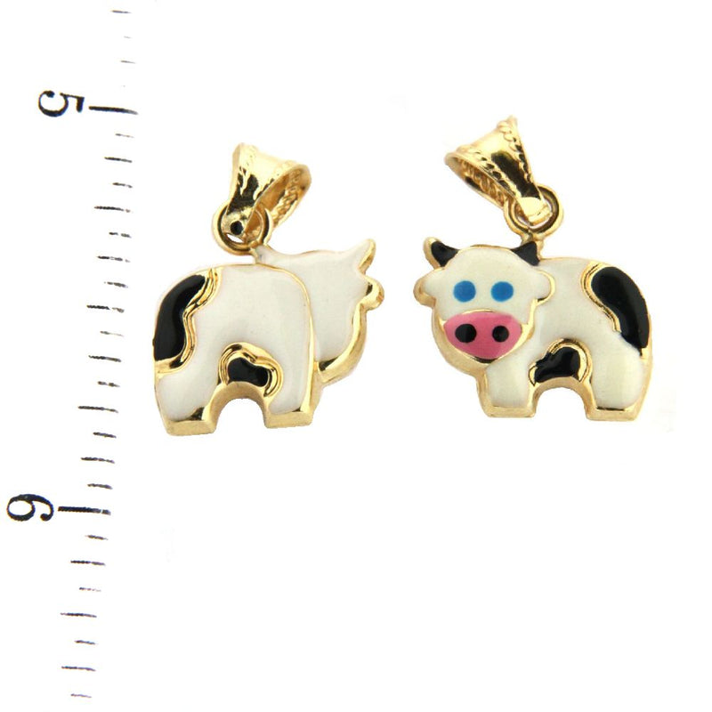 18K Yellow Gold Enamel Cow Charm (10mm x 13mm / 20mm with Bail)Amalia J. & Boutique Charms
