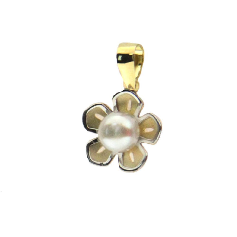 18k two tone pearl flower pendant 0.56 with bail 4 mm pearlAmalia J. & Boutique Charms