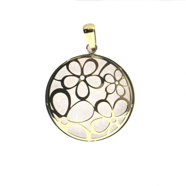 18k two tone open flowers pendant 0.85 diameterAmalia J. & Boutique Lady Gold Jewelry