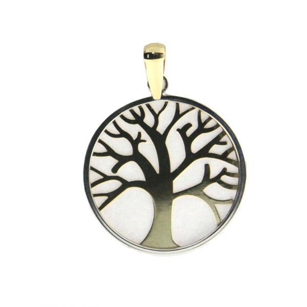 18k two tone life tree pendant 0.84 inch diameterAmalia J. & Boutique Lady Gold Jewelry
