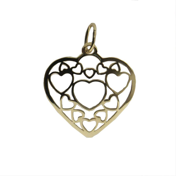 18k yellow gold puffy open heart pendant 0.80 inchAmalia J. & Boutique Lady Gold Jewelry