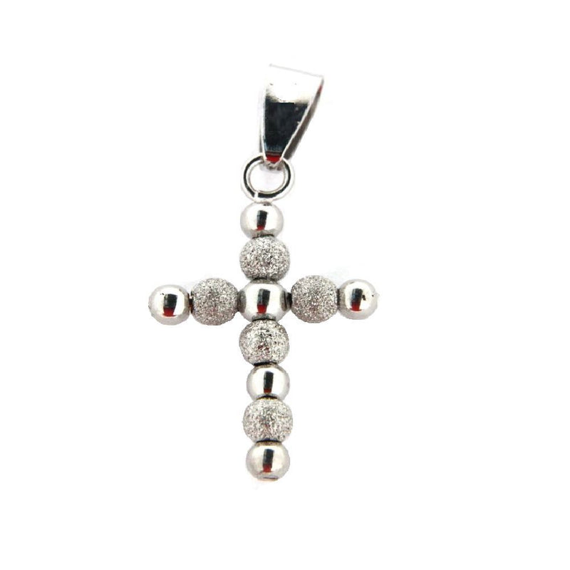 18KWhite Gold Bead Cross  (19mm X 16mm/26mm with Bail)Amalia J. & Boutique Charms