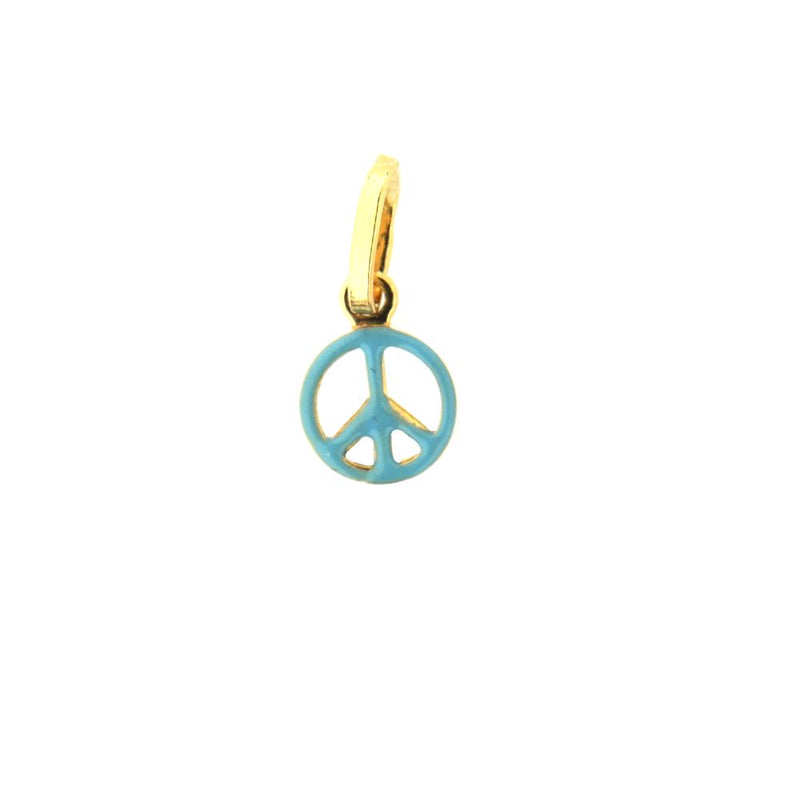 18 Kt Blue enamel Peace Sign Charm (7mm/15mm with Bail)Amalia J. & Boutique Charms