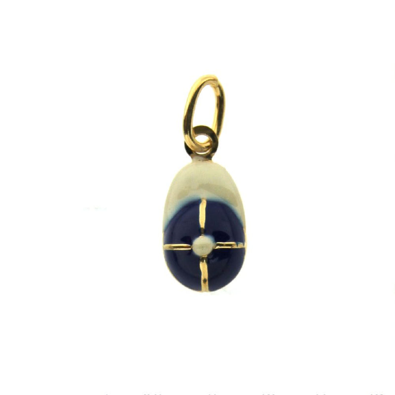 18K YG Blue and White  Basball Cap Charm (14mm X 9mm/23mm with Bail)Amalia J. & Boutique Charms