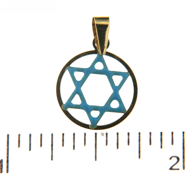 18Kt  Yellow Gold Star of David Blue Enamel Charm (12mm/19mm with Bail)Amalia J. & Boutique Charms