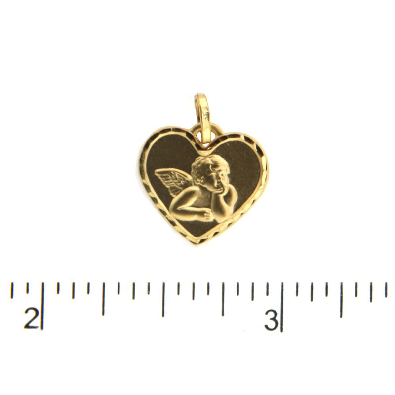18K Solid Yellow Gold Satin Angel Heart Pendant  0.64 X 0.54 InchAmalia J. & Boutique Charms